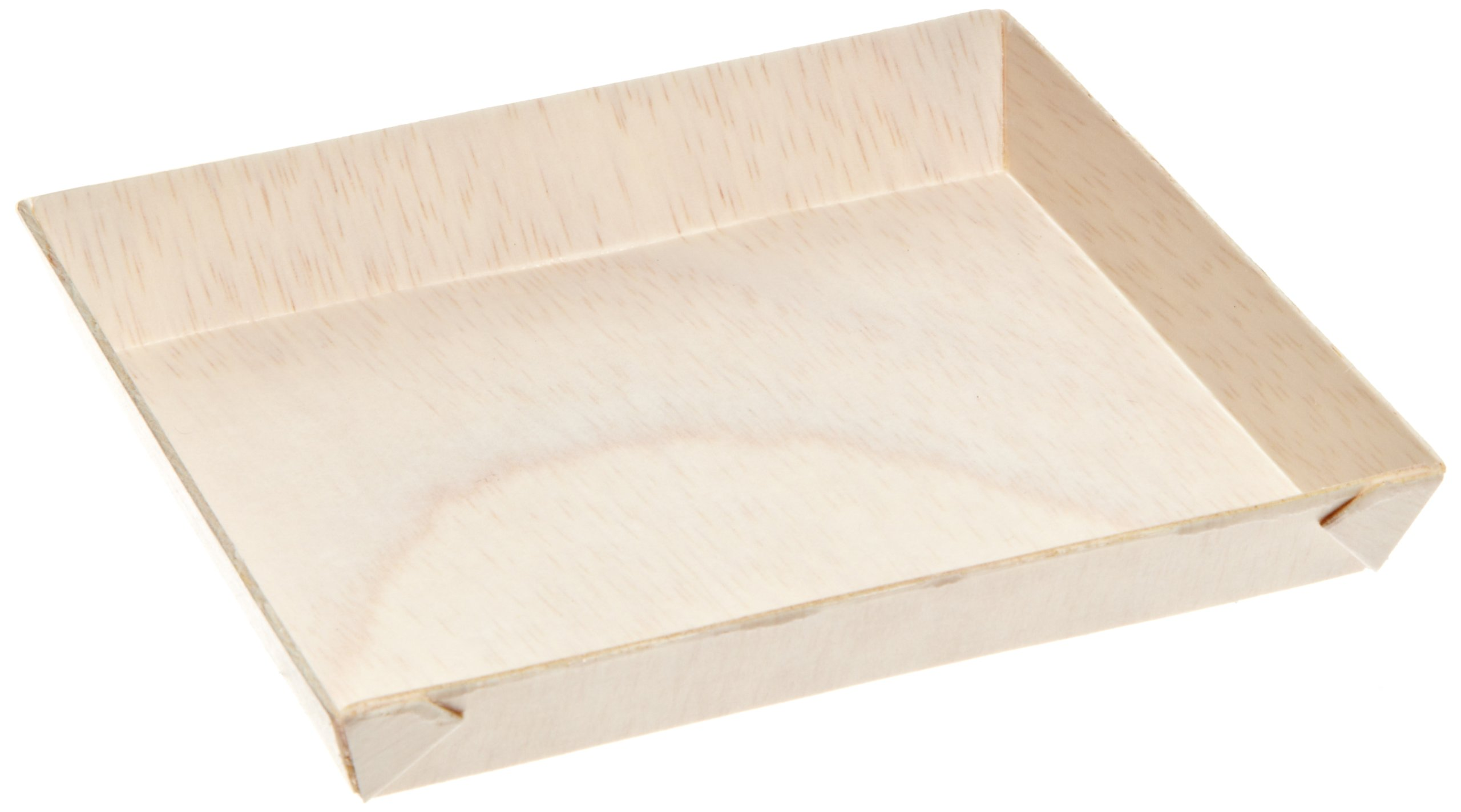 "PackNWood 210SAMBQ1313 ""Samurai'' Square Wooden Dish - 8 oz - 5.2 x 5.2 x .79'' - 100 per case by PacknWood (Image #1)"