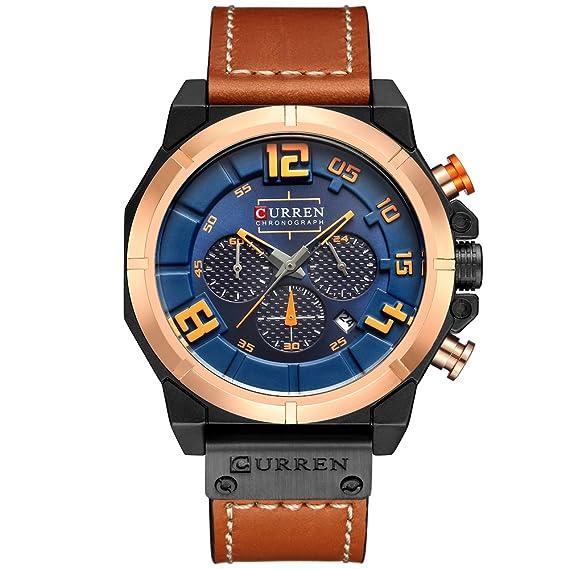 CRRJU Mens Wristwatches Fashion Slim Black Stainless Steel Analog Quartz Watches (Orange)