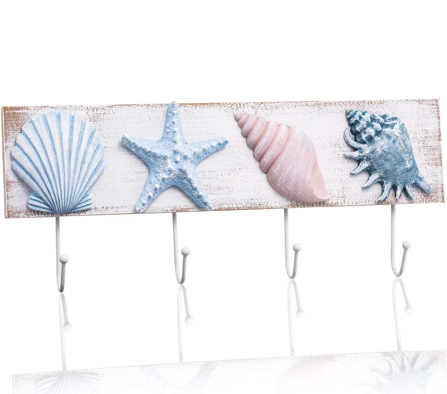 TideAndTales Beach Decor Seashell Wall Hooks Towel Rack for Bathroom, Bedroom or Kitchen | 4 Strong Hooks | Ocean Theme Beach House Decor