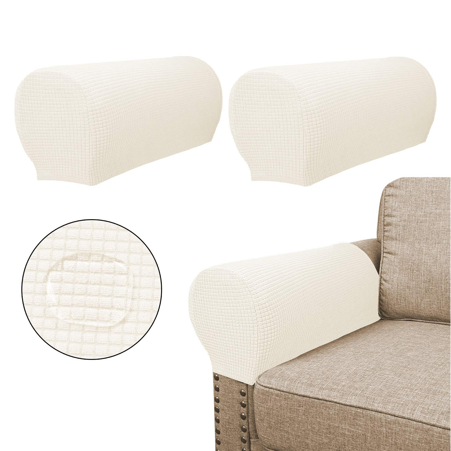 Terrific Sofa Armrest Covers 2 Pieces Set Water Repellent Anti Slip High Stretch Knitted Jacquard Couch Arm Slipcover Protector Shield For Dog Cat Alphanode Cool Chair Designs And Ideas Alphanodeonline