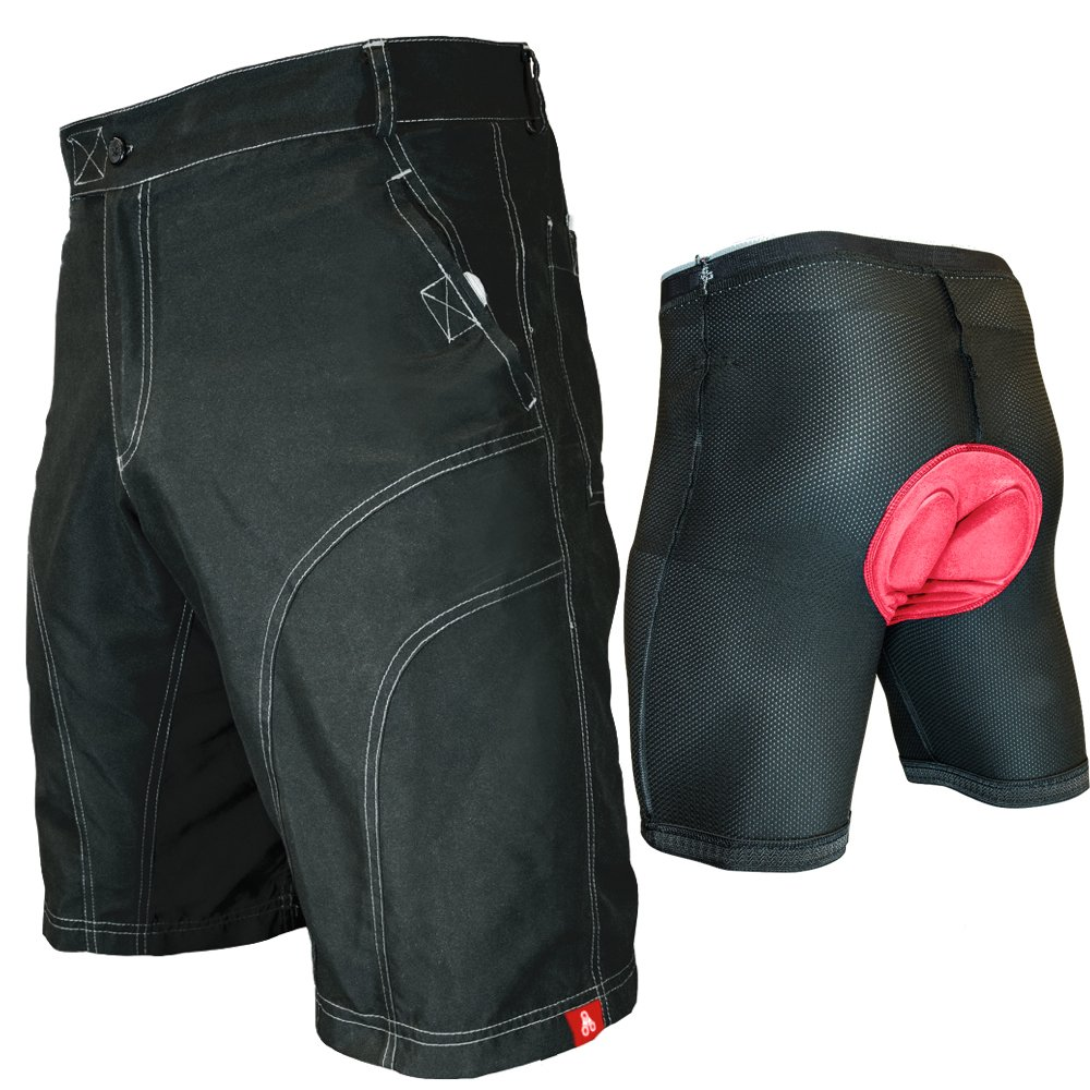 The Pub Crawler - Men's Loose-Fit Bike Shorts for Commuter Cycling or Mountain Biking, with Secure Pockets (Small, Black - Bundle with Premium Antibacterial G-tex Padded Undershorts)