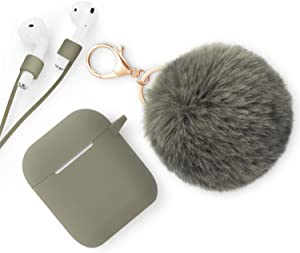 Xmifer AirPods Case, Cute Airpods Case Keychain Drop Proof (Silicone Skin and Cover for AirPods Charging Case 2/1) with Fluffy Fur Ball Keychain and Airpods Anti-Lost Strap for Airpods 2/1(Oliver)