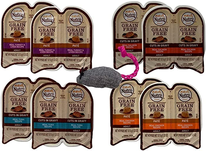 Nutro Feed Clean Grain Free Cuts in Gravy and Pate Cat Food 4 Flavor 8 Can Variety with Toy Bundle, (2) Each: Turkey Liver, Chicken, Salmon, Tuna (2.64 Ounces)