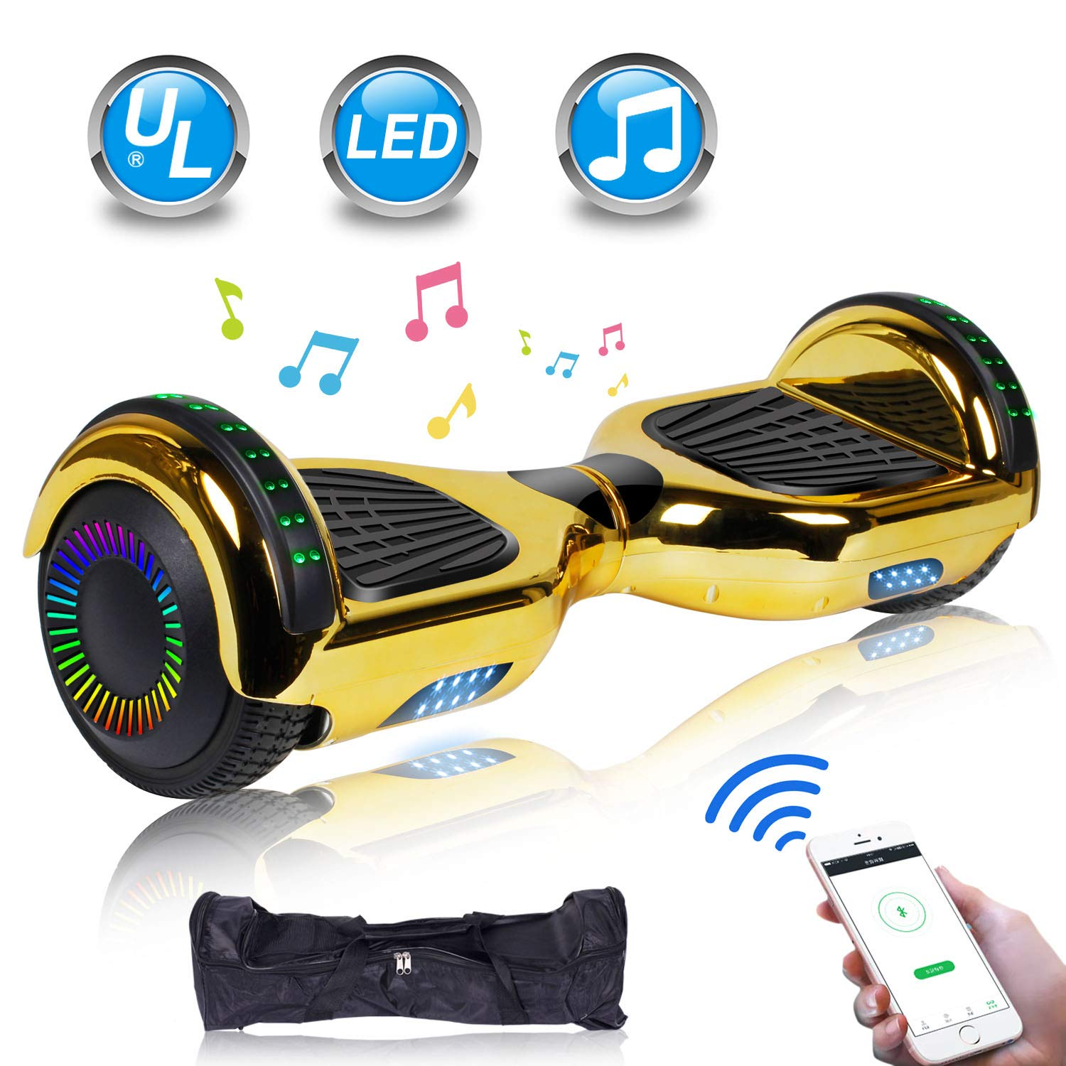 UNI-SUN Chrome Hoverboard for Kids, 6.5'' Two Wheel Electric Scooter, Self Balancing Hoverboard with Bluetooth and LED Lights for Adults, UL 2272 Certified Hover Board,Bluetooth Gold by UNI-SUN