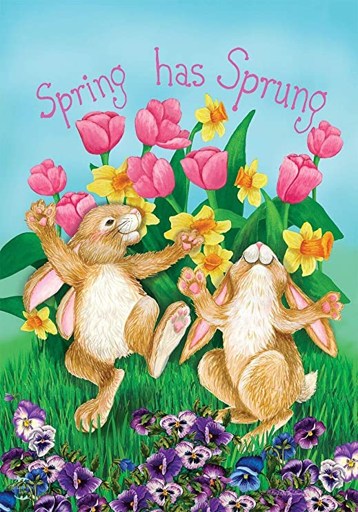 "Spring Has Sprung Rabbits Garden Flag Floral Bunnies Tulips 12.5/"" x 18/"""