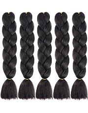 MSBELLE 5 Pcs Synthetic Braiding Hair Extensions,Ombre Braid Fiber Jumbo Hair Bundles for Black Women 100g/Pcs 24 inch (60CM) 1b Black