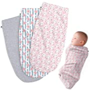 Henry Hunter Baby Swaddle Cocoon Sack | The Simple Swaddle | Soft Stretchy Comfortable Cotton Receiving Blanket for Infants & Newborns 0-3 Months (3 Pack) - Flower | Owl | Light Heather)