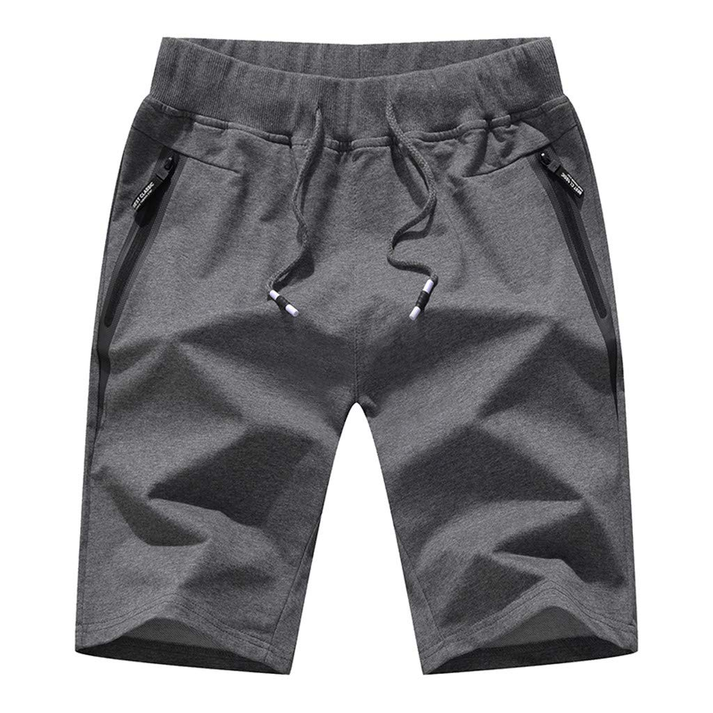 【2019 New】Men's Sport Shorts,Fashion Summer Casual Knitted Fitness Pocket Zipper Drawstring Beach Pants