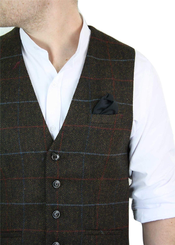 House Of Cavani Gilet Veston Homme Tweed /à Carreaux et Chevrons Style Peaky Blinders Classique Tendance d/écontract/é