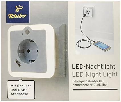 TCM Tchibo – Luz nocturna LED con sensor de movimiento enchufe y USB
