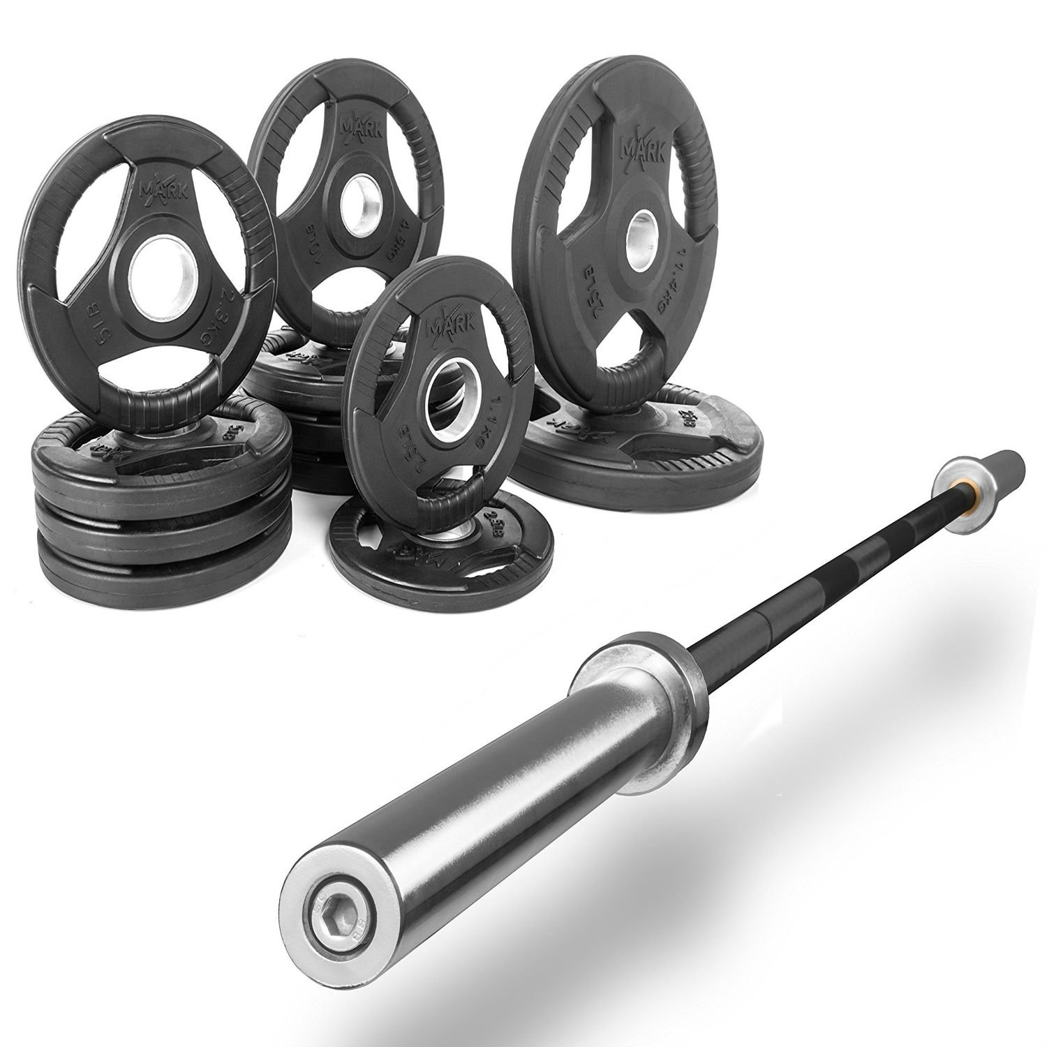 XMark Fitness Combo offer 7 ft. Olympic Excercise Bar With Premium Quality Rubber Coated Tri-grip Olympic Plate Weight Package
