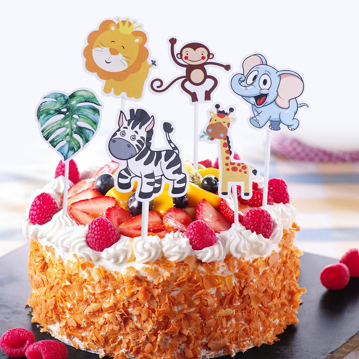 BESTONZON 24pcs Animales tem/áticos Cake Toppers fiesta de cumplea/ños creativa Selecciones de la torta alimentos decoraci/ón suministros