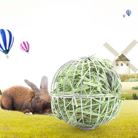 Tandou Redonda Bola de Acero Inoxidable de Bandeja de häng endes heno de la Pelota de hámster de Ratas de Conejos de Mascotas de Juguete: Amazon.es: ...