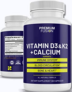 Vitamin D3 5000 iu w/ Vitamin K 2 & Calcium. Bioperine Black Pepper Extract for Extra Strength Absorption. VIT D 3 and K2 Supplement for Circulation, Bone & Heart