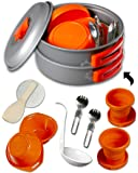 gear4U Best BPA-FREE Camping Cookware Set - Mess Kit - 13 Pieces including Free Bonus - Non-Stick Anodized Aluminum - Complete Lightweight Folding Kit for Camping Hiking & Backpacking Outdoor Cooking