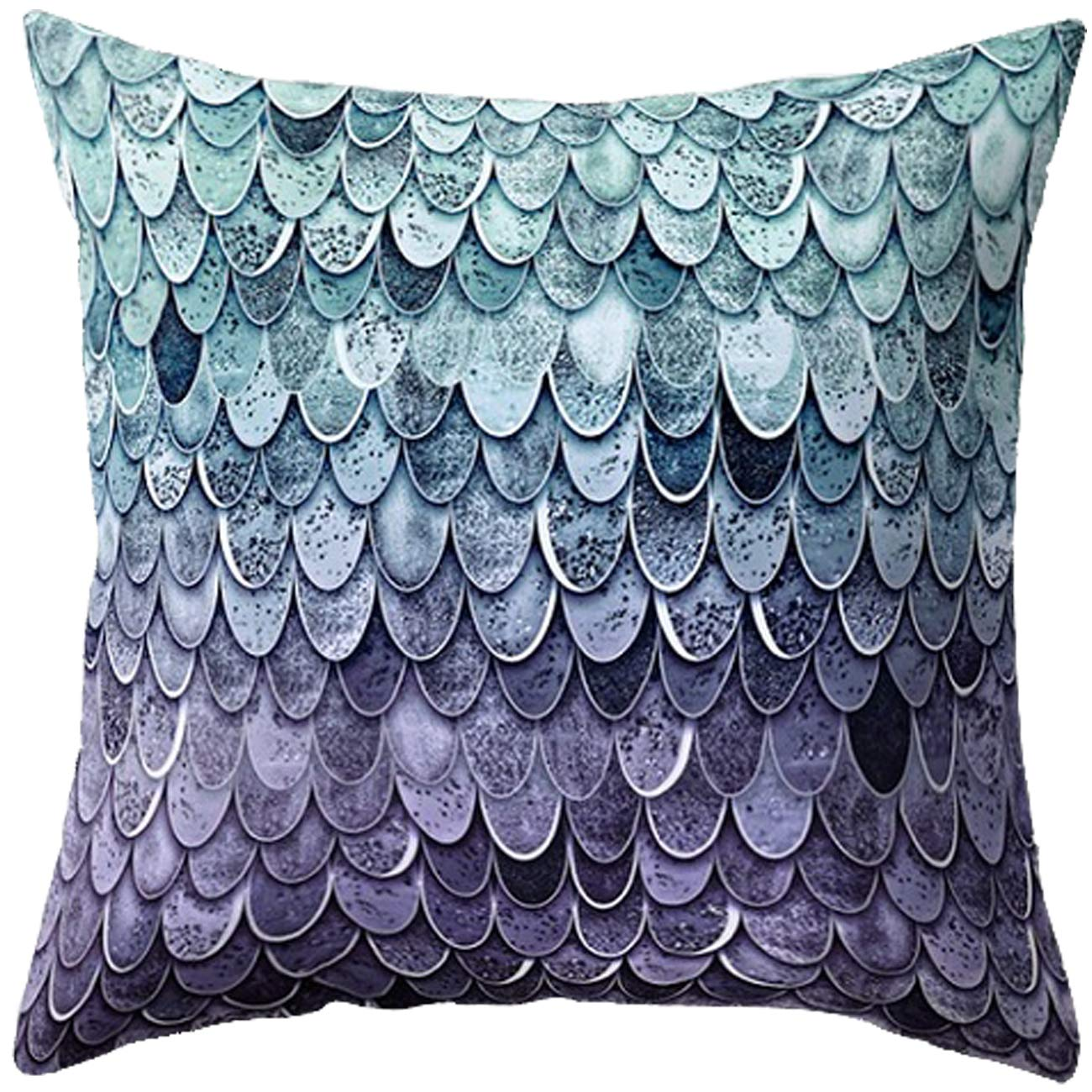 Floral Printed Teal-Purple Treely Mermaid Pillow Cases Decorative Mermaid Scale Throw Pillow Covers Set of 2 Cushion Covers 18 x 18 for Beach Couch Sofa