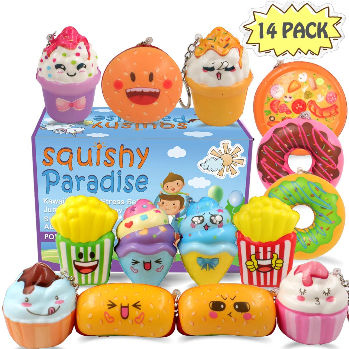 POKONBOY Squishies Donut Squishy Toys, 14 Pack Food Squishies Kawaii Cute Donuts & Ice Cream & Pizza Slow Rising Creamy Scent Stress Relif Squishies Pack Party Favors Decorative with Key Chain by POKONBOY
