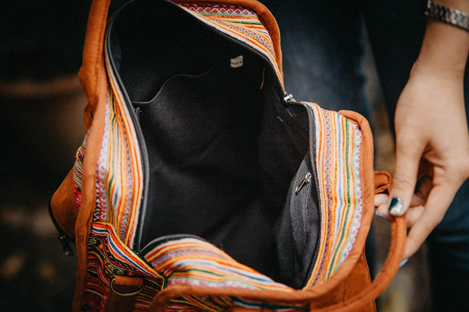 Unique Ethnic Bookback Fair Trade Backpack from Thailand Embroidered Backpack Changnoi One of a kind Backpack with Vintage Hmong Embroidery