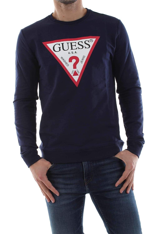 07b5299d4 Amazon.com: GUESS Logo Crew Neck Sweatshirt Navy Blue M92Q08K6ZS0: Clothing