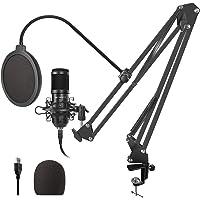 TAWAPYZ Micrófono de Condensador Kit, USB Micrófono Profesional (192kHz/24bit) con Soporte de Micrófono Brazo de Tijera…