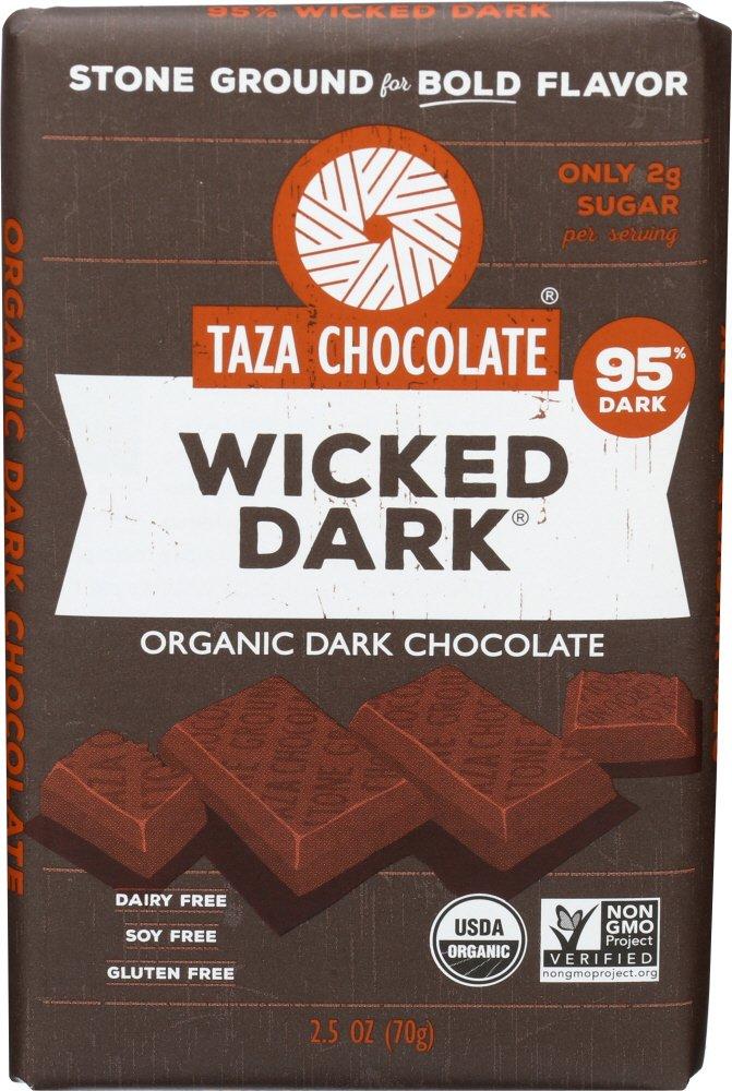 Taza Chocolate | Amaze Bar | Wicked Dark | 95% Stone Ground | Certified Organic | Non-GMO | 2.5 Ounce (1 Count)