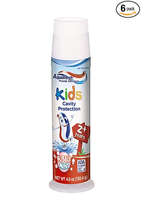 Aquafresh Kids Pump Cavity Protection Bubble Mint Fluoride Toothpaste for Cavity Protection, 4.6 ounce (Pack of 6)