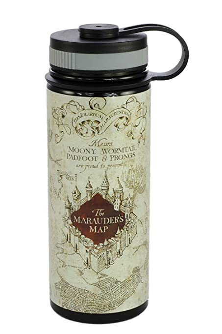 b1e8fb9a55 Amazon.com: Harry Potter Stainless Steel Water Bottle - Marauder's Map  Design - 550ml: Kitchen & Dining