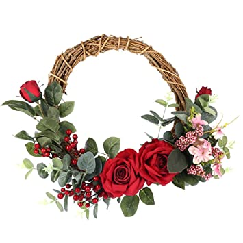ARTIFICIAL CHRISTMAS WREATH FLOWERS RING MEMORIAL GRAVE ROSES RED WHITE TRIBUTE