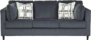 Signature Design by Ashley - Kennewick Contemporary Velet Sofa, Shadow