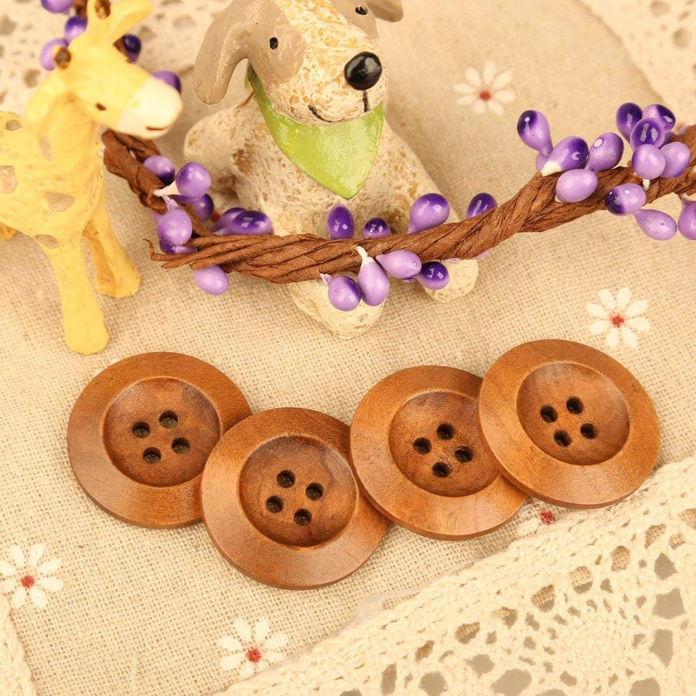 Dealglad 100Pcs Coffee 4 Hole Round Wood Buttons for DIY Sewing Crafting Scrapbooking 25mm