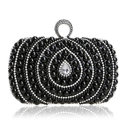 AFCITY Bolso Clutch Mujer Bolsos de Noche de Embrague para Mujer con Cuentas llenas de Perlas