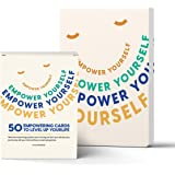 Empower Yourself – 50 Mindfulness Empowering Question Cards and a Guided Daily Journal - for Therapy Card Games, Journaling,