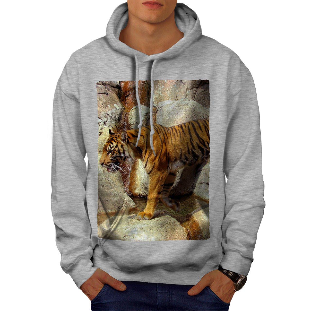 wellcoda Tiger Rock Photo Animal Mens Hoodie Cool Hooded Sweatshirt