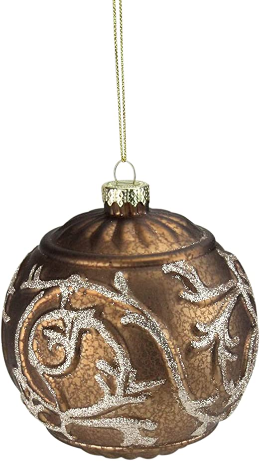 Amazon Com Northlight Copper Brown Glitter Swirl Mercury Glass