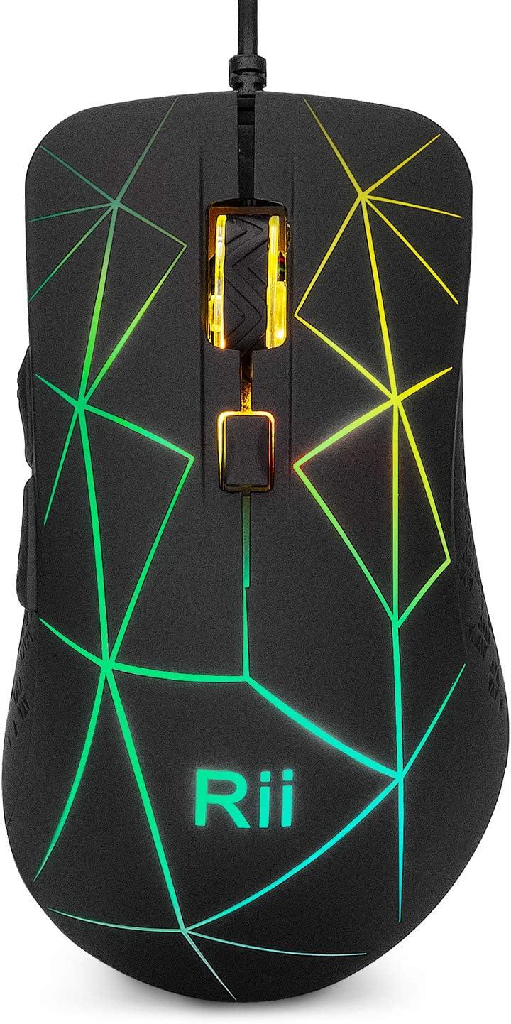 Rii RM106 Ratón ergonómico óptico con Cable USB, de 5 Botones y 4 Niveles de dpi Ajustables. 7 Colores RGB LED y retroiluminación Parpadeante. Color Negro