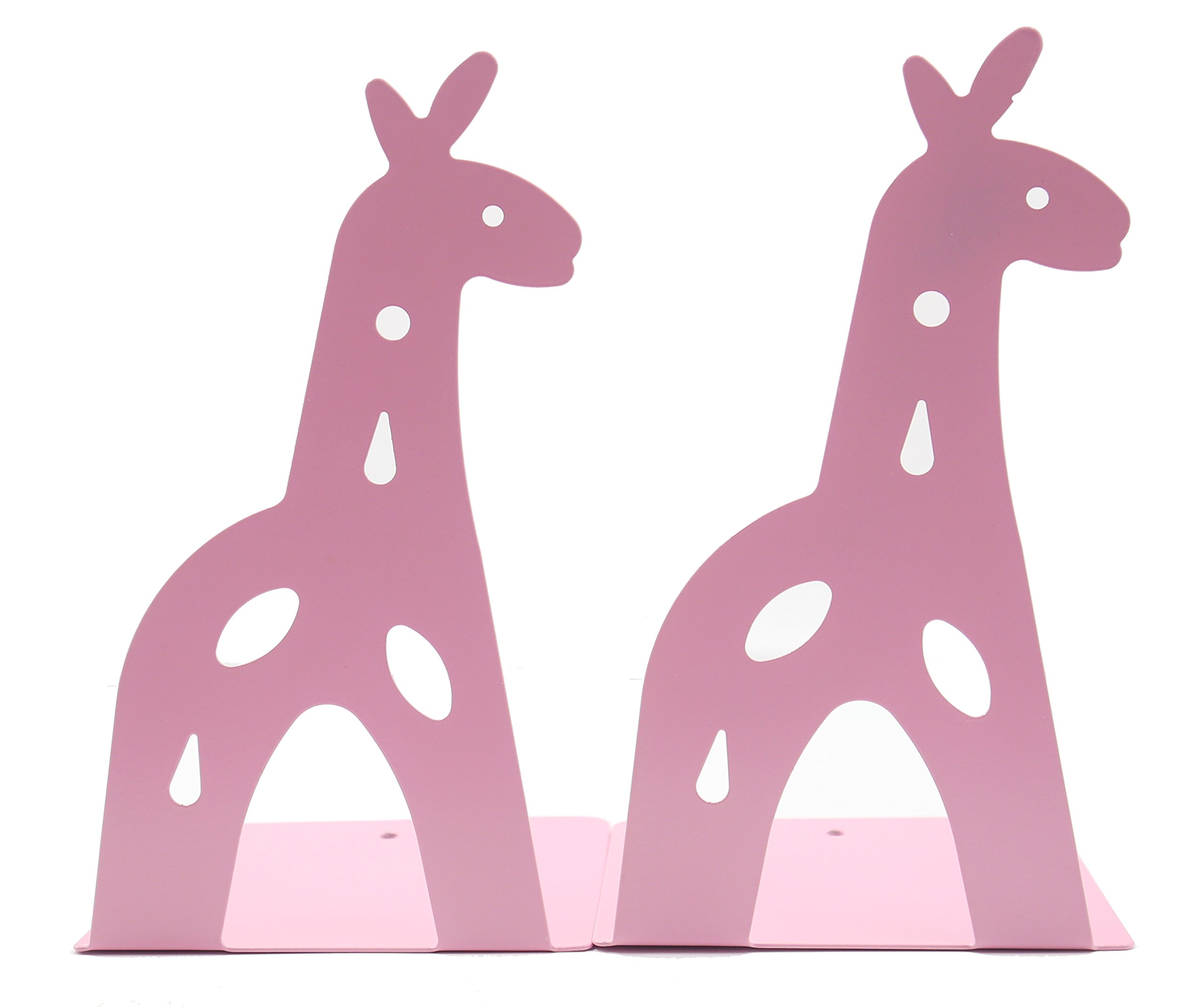 Y-H Cute Cartoon Giraff Iron Metal Bookends Nonskid Bookends Art Bookends for Office Home Desk Study Gift for Kids Girls Birthday Gifts(Pink)