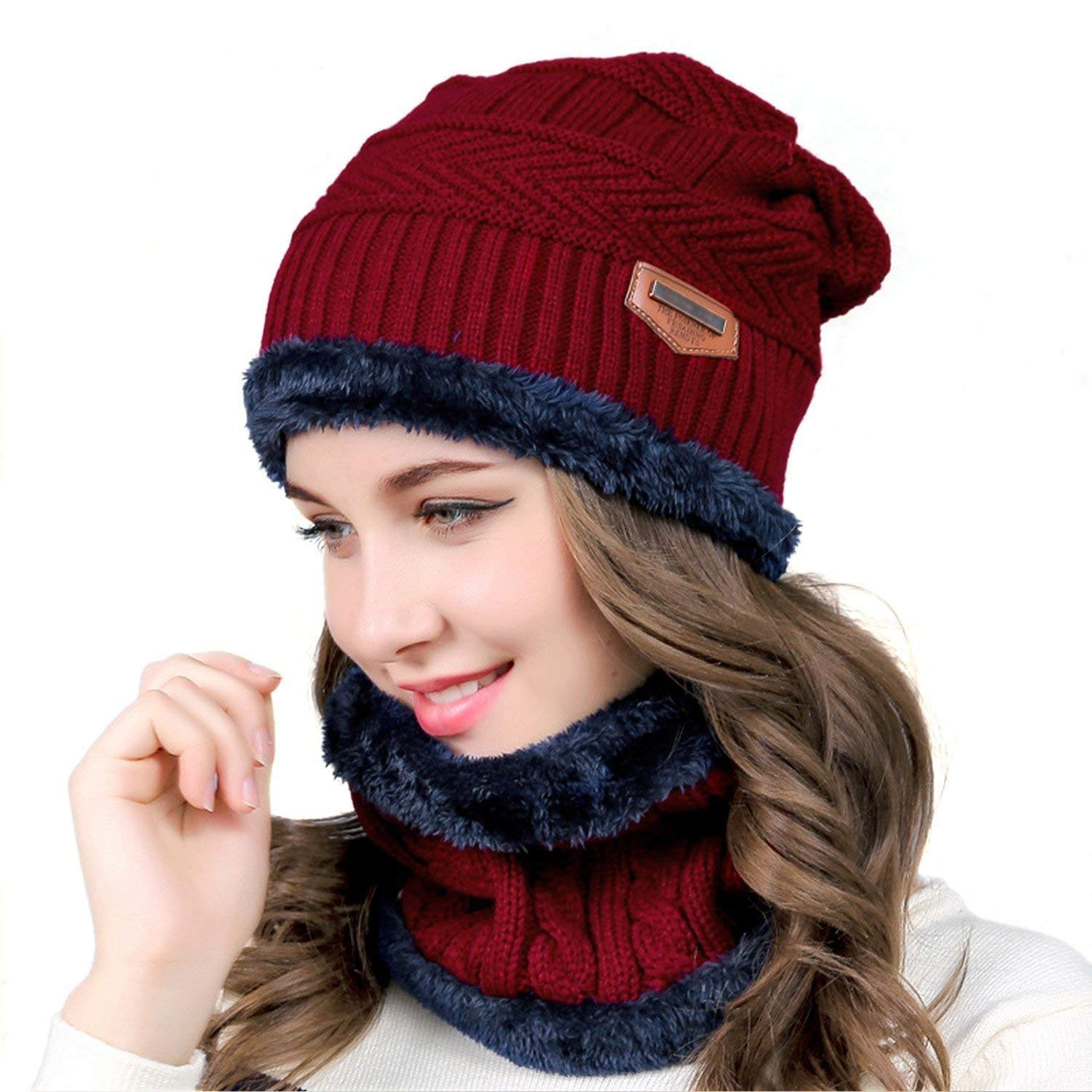 Hat Scarf Set, UMIPUBO Thermal Knitted Beanie Hat and Scarf Circle Scarf Warm Skiing Hat Outdoor Sports Hat Scarf Sets for Men/Women