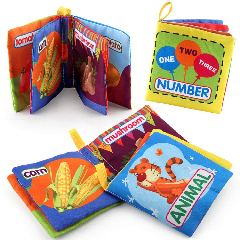 Ronshion 6 Pack Babys Non-Toxic Cloth Fabric Books My First Colorful Soft Cloth Book Toddler Early Education Toys Activity Crinkle Cloth Books Cognitive Palm Book Perfect