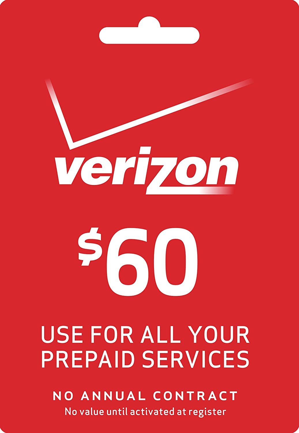 Verizon $60 To go or Monthly Prepaid Refill Card (mail delivery)