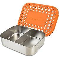 LunchBots Duo Edelstahl Nahrungsmittelbehälter – Zwei Abschnitt Design perfekt für eine Sandwich Hälfte und einer Beilage – Umweltfreundlich, Spülmaschinenfest und BPA frei
