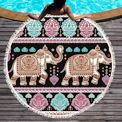 LIWIN Ultra Suave Elefante Redondo Toalla de Playa Impreso ...