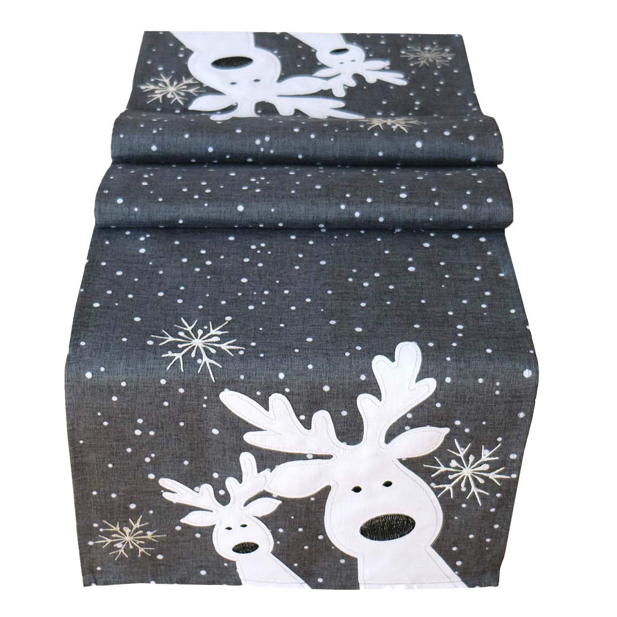 Tischläufer 40 x 85 cm grau weiß Silber, lustiger Elch, Rentier, Tischdecke, Weihnachten Weihnachtsdeko Weihnachtstischdecke kurz Raebel