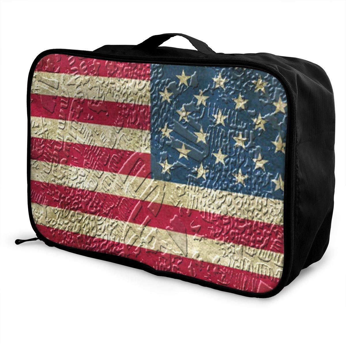 Portable Luggage Duffel Bag American Flag Animal Travel Bags Carry-on In Trolley Handle