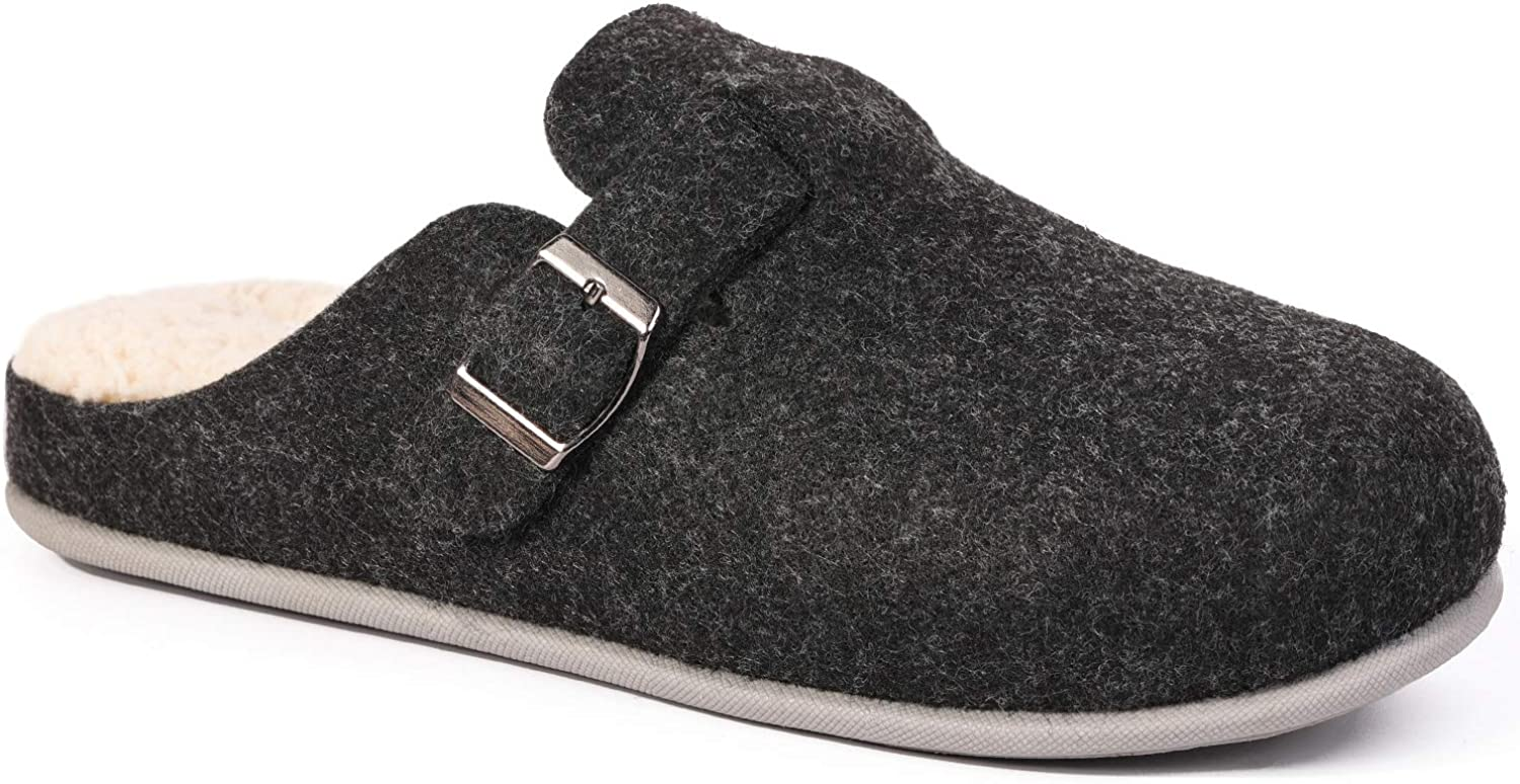 HomeTop Women's Pommel Wool Like Memory Foam Slippers with Adjustable Buckle