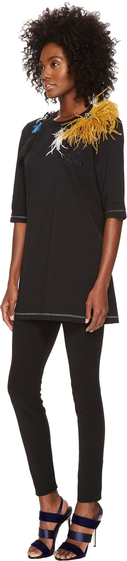Sonia Rykiel Women's Runway Embroidered Cotton Jersey w/ Feathers Tee Black Large by Sonia Rykiel (Image #2)
