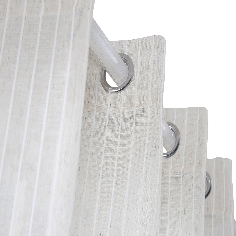 Beige Deconovo Linen Look Stripe Sheer Voile Window Curtain Grommet Top For bedroom