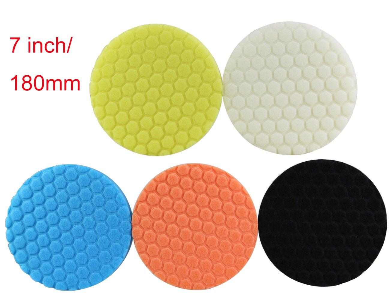 Almohadilla de pulido hexagonal de 7 pulgadas 180 mm para el paquete del pulidor del coche de 5 AGGER