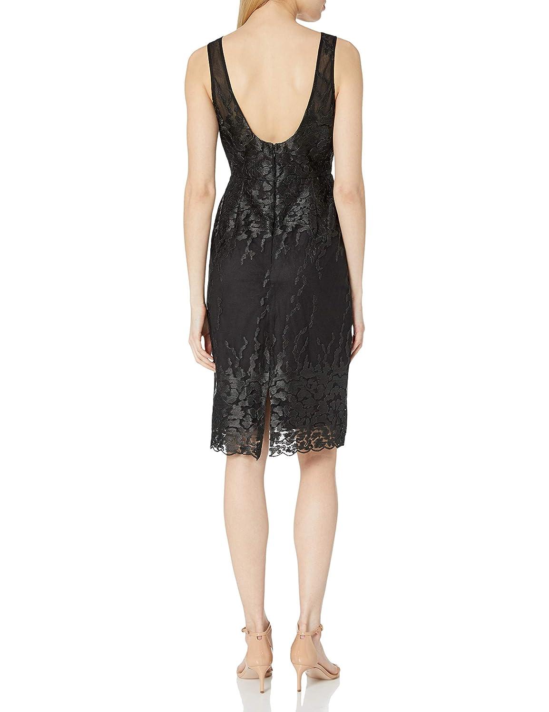 Nicole Miller New York Womens Sleeveless V-Neck Fitted Cocktail Dress