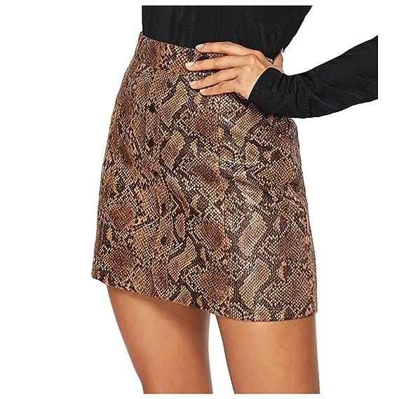 QIjinlook Faldas de Cuero Mujer Faldas Midi con Estampado de ...