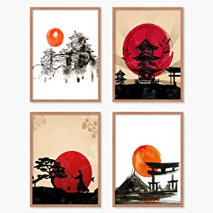 YUMKNOW Japanese Art Wall Decor - Unframed 8x10 Set of 4, Modern Minimalist Asian Oriental Decor for Living Room, Samurai Armor Warriors Prints Posters for Bedroom, Japan Red White Art Office Gifts